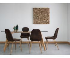 Conjunto de 2 sillas en madera con tapizado marrón oscuro BRUCE