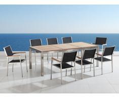 Conjunto de jardín - Tablero de madera - Mesa 220 cm con 8 sillas de tela - GROSSETO
