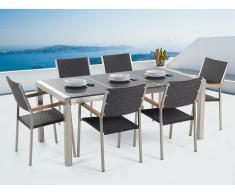 Conjunto de jardín - Granito pulido gris - Mesa 180 cm con 6 sillas en ratán - GROSSETO