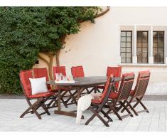 Conjunto de jardín de madera – Mesa – 8 sillas – cojines en color terracota - MAUI
