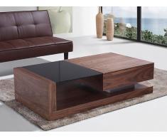 Mesa de centro - Cajón - Superficie de vidrio negro - 130 x 70cm - Nogal - PORTO