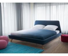 Cama tapizada azul oscuro con somier 180x200 cm VIENNE