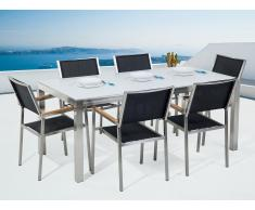 Conjunto de jardín mesa en vidrio blanco 180 cm, 6 sillas negras GROSSETO