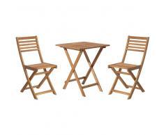 Conjunto de jardín de madera - Mesa - 2 sillas - Marrón claro - FIJI