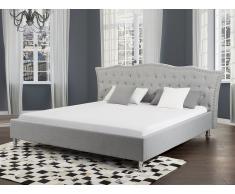 Cama de matrimonio - Tapizado gris - Somier incluido - 180x200 cm - METZ