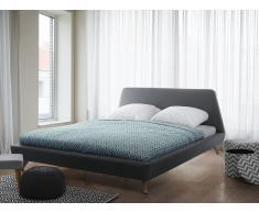 Cama tapizada gris con somier 160x200 cm VIENNE