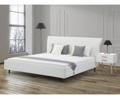 Cama blanca en piel 180x200 cm SAVERNE