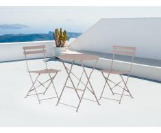Conjunto de jardín - Mesa - 2 sillas - Gris - Marrón - FIORI