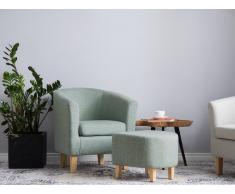 Butaca tapizada con reposapiés verde HOLDEN