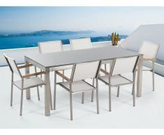 Conjunto de jardín mesa con tablero gris de piedra natural 180 cm, 6 sillas blancas GROSSETO