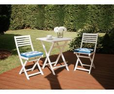 Conjunto de jardín, Mesa + 2 sillas, con cojín blanco-azul, FIJI