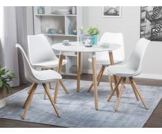 Mesa de comedor – Madera de caucho – 90 cm – Blanco – BOVIO