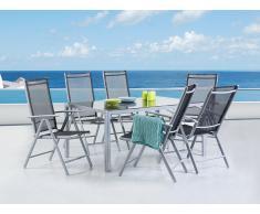 Conjunto de jardín - Mesa de aluminio 160 cm con 6 sillas - CATANIA