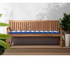Banco de jardín 180cm con colchón zigzag azul-blanco JAVA