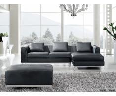 Sofá negro - sofá esquinero con otomana - sofá de piel - OSLO