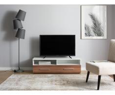 Mueble TV blanco/marrón nuez BORGARNES