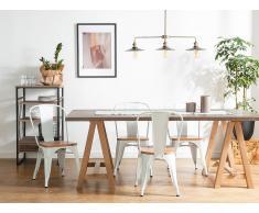 Conjunto de 2 sillas en metal y madera, blanco y marrón claro, APOLLO
