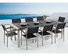Conjunto de jardín - Granito pulido negro - Mesa 220 cm con 8 sillas de tela - GROSSETO