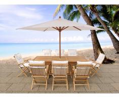 Conjunto de jardín - Mesa de madera dura - 8 sillas con cojines en beis - JAVA