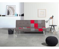 Sofá cama - Tapizado - Diseño de patchwork - Gris y rojo - OLSKER