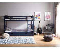 Litera de madera color azul oscuro 90x200 cm REVIN