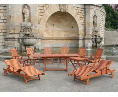 Conjunto de jardín de madera - 2 Mesas - 6 Sillas - 2 Tumbonas - TOSCANA