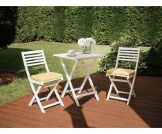 Conjunto de jardín, Mesa + 2 sillas, con cojín amarillo, FIJI