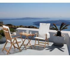 Conjunto de jardín de madera –Mesa – 2 sillas – Cojines en color beige – RIVIERA