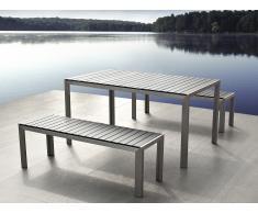 Conjunto de jardín en aluminio - Mesa 180 cm - 2 bancos - Polimadera gris - NARDO