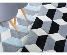 Alfombra de poliéster - 80x150 cm - Color negro-gris-blanco - ANTALYA