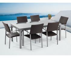 Conjunto de jardín - Granito pulido gris - Mesa 180 cm con 6 sillas en ratán - TORINO