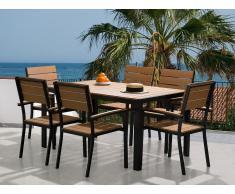 Conjunto de jardín en aluminio -Mesa 150 cm - 6 sillas - Marrón - COMO