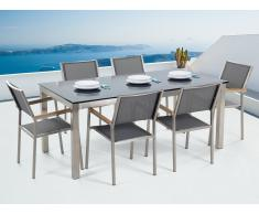 Conjunto de jardín - Vidrio templado negro - Mesa 180 cm con 6 sillas grises - GROSSETO