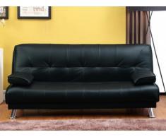 Sofá cama clic-clac MAXIME - Piel sintética - Negro