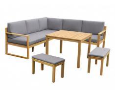 Salón de jardín rinconero elevable CAPELLI de madera de eucalipto: un sofá rinconero, 2 bancos y 1 mesa - Asiento gris