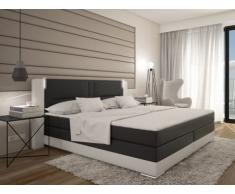 Conjunto boxspring completo cabecero con Leds + somieres + colchón + cubrecolchón ASTI - 2x80x200 cm - piel sintética - Blanco y gris