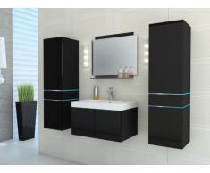 Conjunto de baño NAOMI con leds - Muebles + lavabo + espejo - Lacado negro