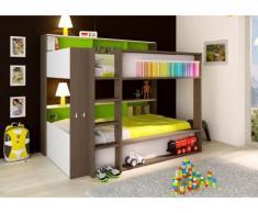 Cama litera DORIAN - 2x90x190 cm - Estantes - Fondo verde