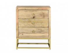 Mesa de noche de estilo vintage ALIX - 3 cajones - Madera de mango y metal dorado