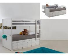 Cama litera separable ANCHISE - 90x190cm - Con compartimentos - Lacado blanco