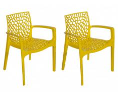 Lote de 2 sillones de jardín apilables DIADEME - Polipropileno - Amarillo