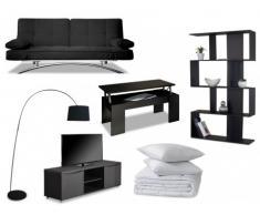 PACK Estudio 8 productos: sofá cama clic-clac ATLANTA negro, mesa de centro, mueble TV, estantería, lámpara, edredón y 2 almohadas