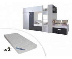 Cama litera JULIEN - 2x90x190 cm - Armario integrado - Pino blanco y negro + 2 colchones ZEUS 90x190