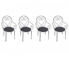 Lote de 4 sillones de jardín de hierro forjado GUERMANTES - Antracita