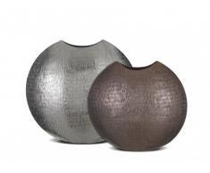 Conjunto de 2 floreros BECCA de aluminio - Alto 45.5 y 34.5 cm - Plateado y Cobre