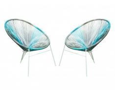 Conjunto de 2 sillas de jardín ALIOS II de fibras de resina trenzada - Antracita, azul, gris claro
