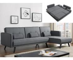 Sofá cama modular CALOBRA tapizado de tela - Gris claro