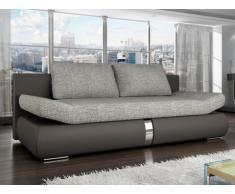 Sofá cama de 2 plazas JADEN tapizado de tela y piel sintética - Bicolor gris antracita y gris claro