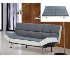 Sofá cama clic-clac de piel sintética ESPOO - Gris/blanco