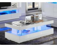 Mesa de centro FABIO - MDF lacado blanco - con leds - 2 cajones y 2 baldas